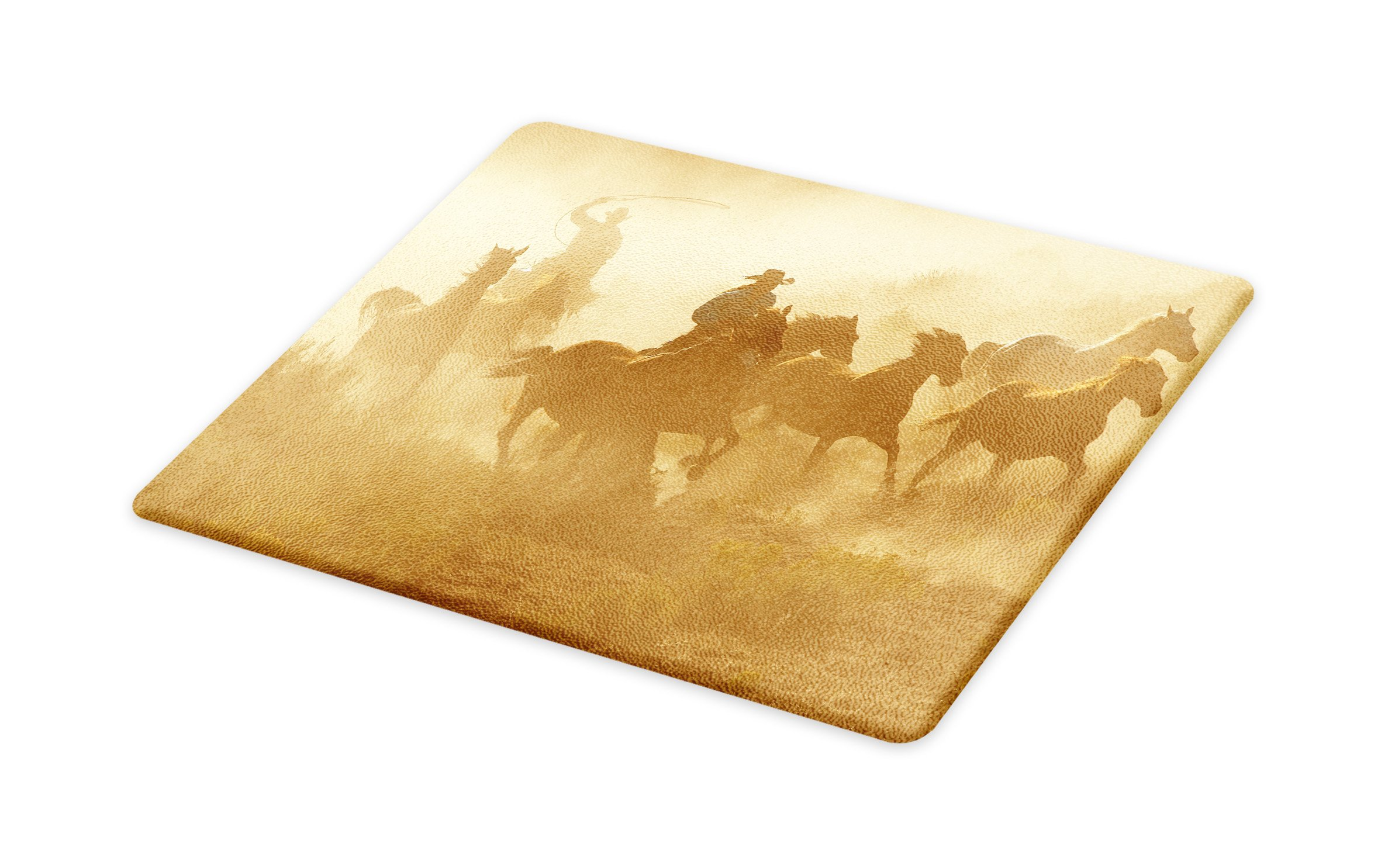 Lunarable Western Cutting Board, Galloping Running Horses in Desert Two Cowboys Roping Dusty Wild Rural Countryside, Decorative Tempered Glass Cutting and Serving Board, Large Size, Pale Brown