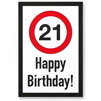 Dankedir 21 Jahre Happy Birthday Kunststoff Schild Geschenk 21