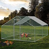 riin Large Walk-in Chicken Coop Outdoor Run Metal Shed Cage Pen Hen House Rabbit Hutch Ferret Chook Guinea Pig with Roof…