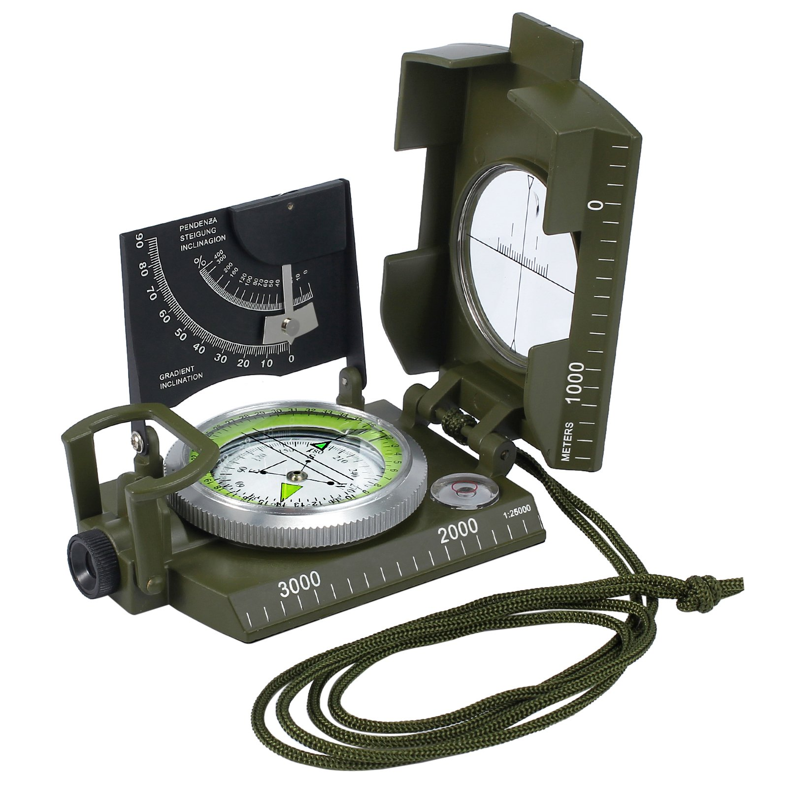 Kinstecks Professional Compass Clinometer Military Army Metal Sighting Compass with Clinometer Carry Bag for Hiking Hunting Camping Geology and Other Outdoor Activities