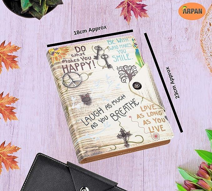 Arpan - Agenda personal, A5, cuaderno de renglones y tapas acolchadas con botón de cierre a presión, color Slogan Cream A5