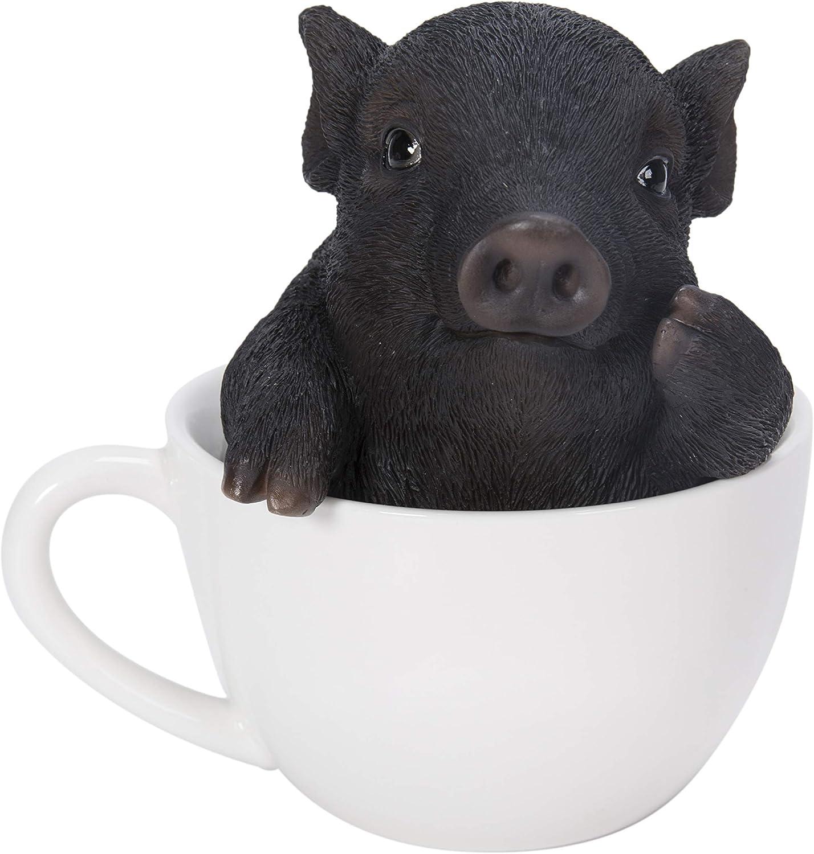 Pacific Giftware Realist Look Black Pig Piggy Tea Cup Resin Figurine Statue