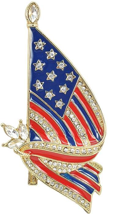 594f5151f Gyn&Joy Gold Tone Crystal American Flag Brooch Pin USA Patriotic Jewelry  BZ026