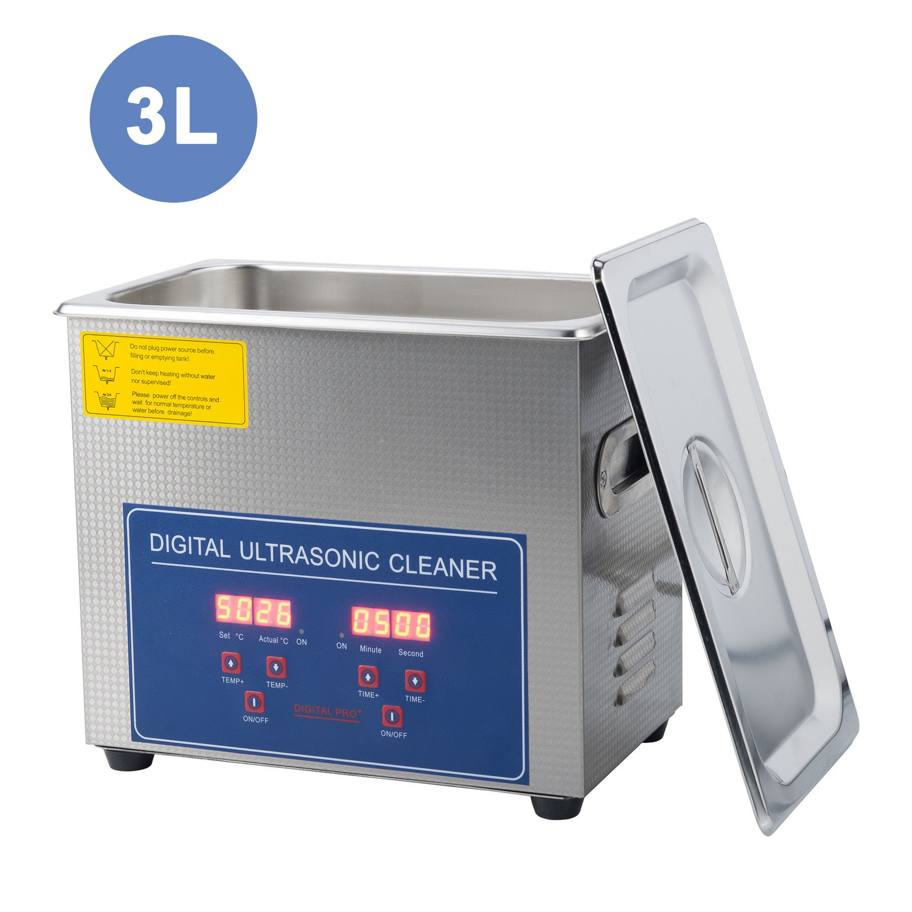 CO-Z 3L Professional Ultrasonic Cleaner with Digital Timer&Heater for Cleaning Jewelry Glasses Watch Dentures Small Parts Circuit Board Dental Instrument, Commercial Electric Ultrasound Clean Machine