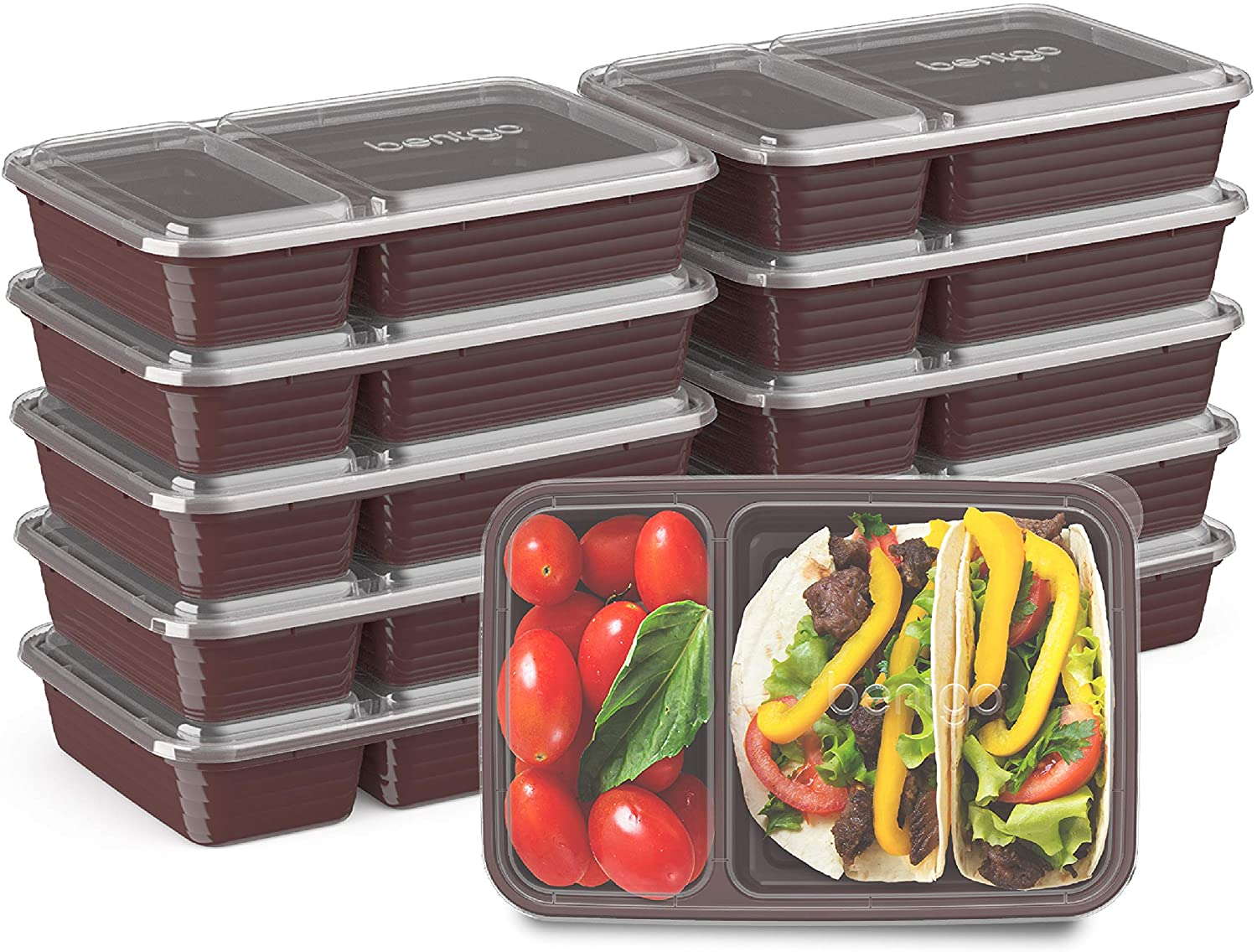 Bentgo Prep 2-Compartment Meal-Prep Containers with Custom-Fit Lids - Microwaveable, Durable, Reusable, BPA-Free, Freezer and Dishwasher Safe Food Storage Containers - 10 Trays & 10 Lids (Burgundy)