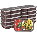 Bentgo Prep 2-Compartment Meal-Prep Containers with Custom-Fit Lids - Microwaveable, Durable, Reusable, BPA-Free, Freezer and