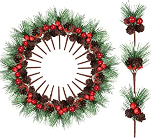 24 Pieces Christmas Pine Picks Small Fake Berries Pinecones Artificial Pine Tree for Wedding Garden Christmas Tree Craft Decorations (Style Set 2)