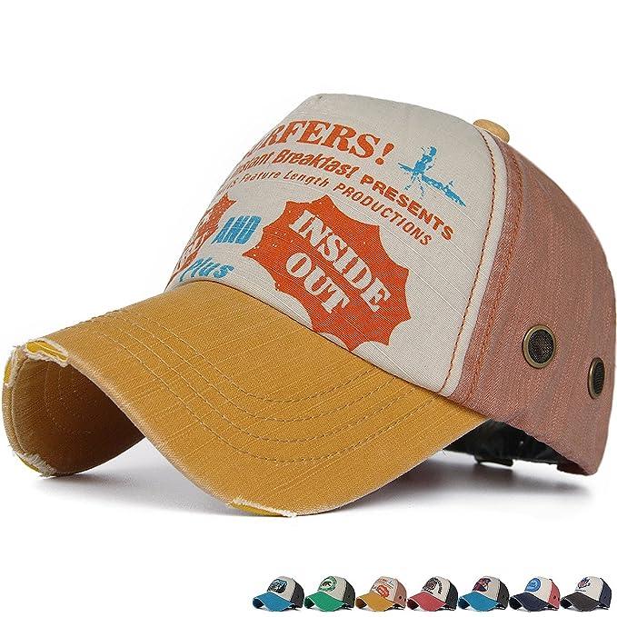 60e218f4915c2 Rayna Fashion Distressed Curved Brim Trucker Hat Structured Printed  Baseball Cap Orange