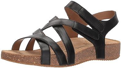 cb16420759c72 Josef Seibel Women's Tonga 37 Flat Sandal, Black, 36 Medium US