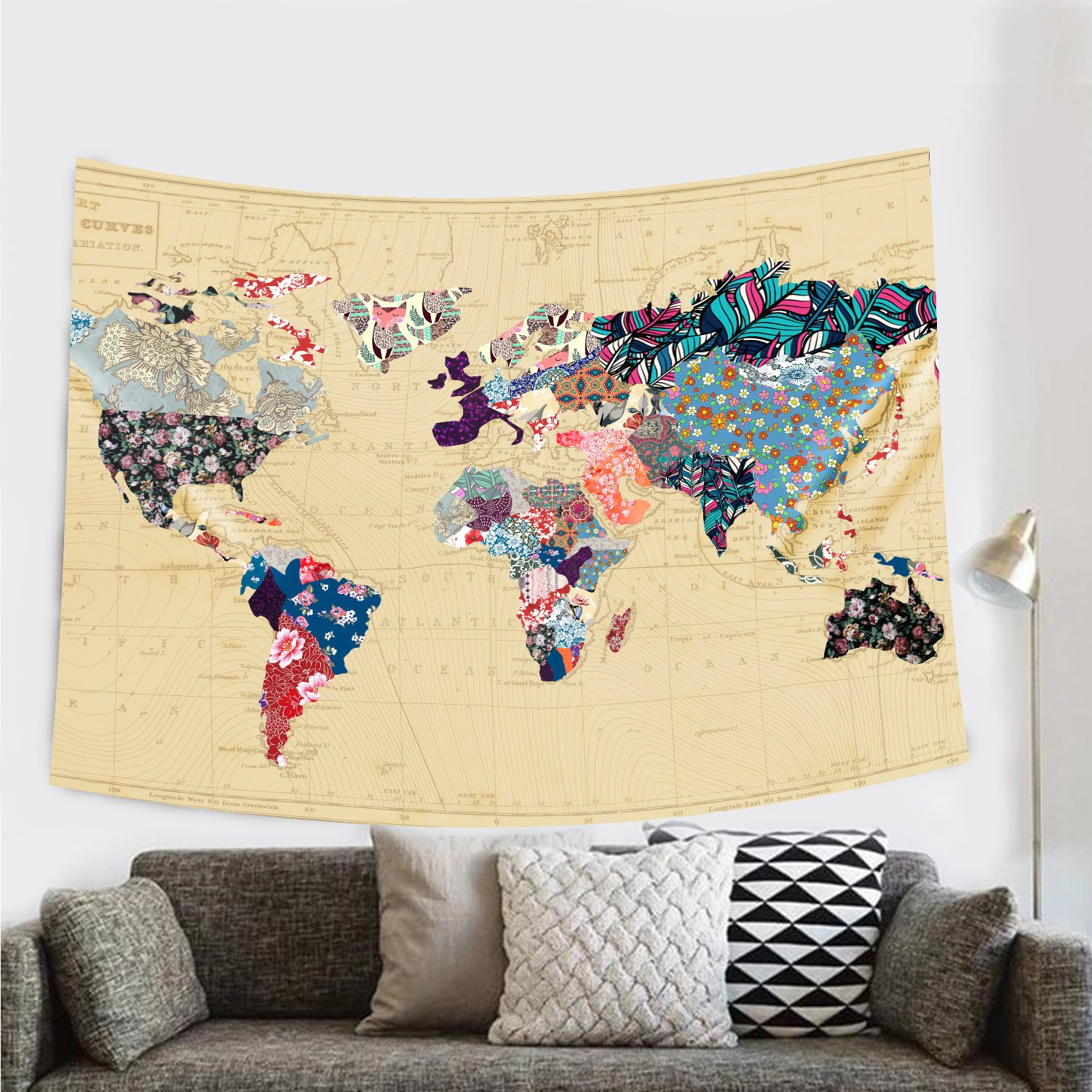 Amazon.com: Bonnie Bone Floral Watercolor World Map Tapestry ...