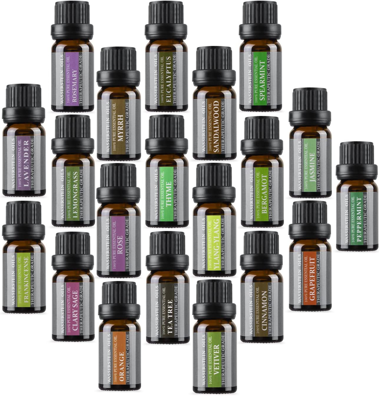 Top 20 Aromatherapy Essential Oil, 10ml, 100% Pure & Natural by Wasserstein (Lavender, Tea Tree, Eucalyptus, Lemongrass, Orange Peppermint, and Much More)