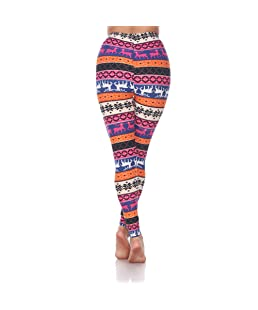 Women's One Size Fits Most Soft Printed Leggings (Orange/Fuchsia)