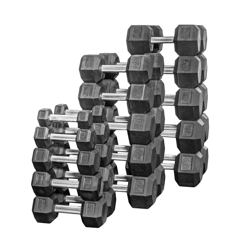 Rep 5-75 lb Rubber Hex Dumbbell Set, Low Odor