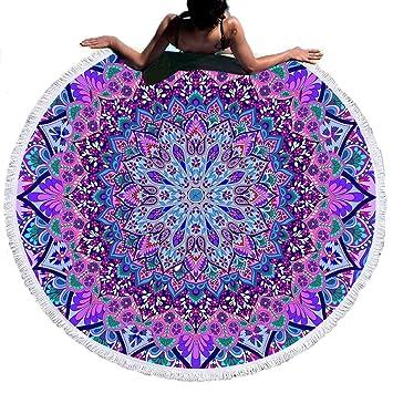 Sticker Superb Estilo Mandala Indio,Toalla de Playa Microfibra Redonda, Esterilla de Yoga o para Picnic,150 cm de Diámetro (Motivo Indio, 150cm): Amazon.es: ...