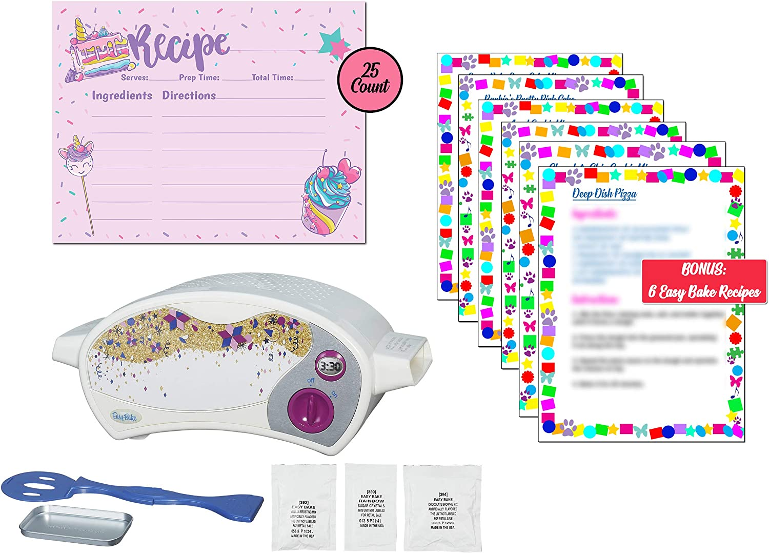 Easy Bake Oven with Easy Bake Oven Mixes and Recipe Cards, Mini Oven, Easy Bake Oven for Kids, Kids Oven, Easy Bake Oven Mixes for Kids, Easy Bake Oven Food (Recipe Cards + Bonus Recipes)