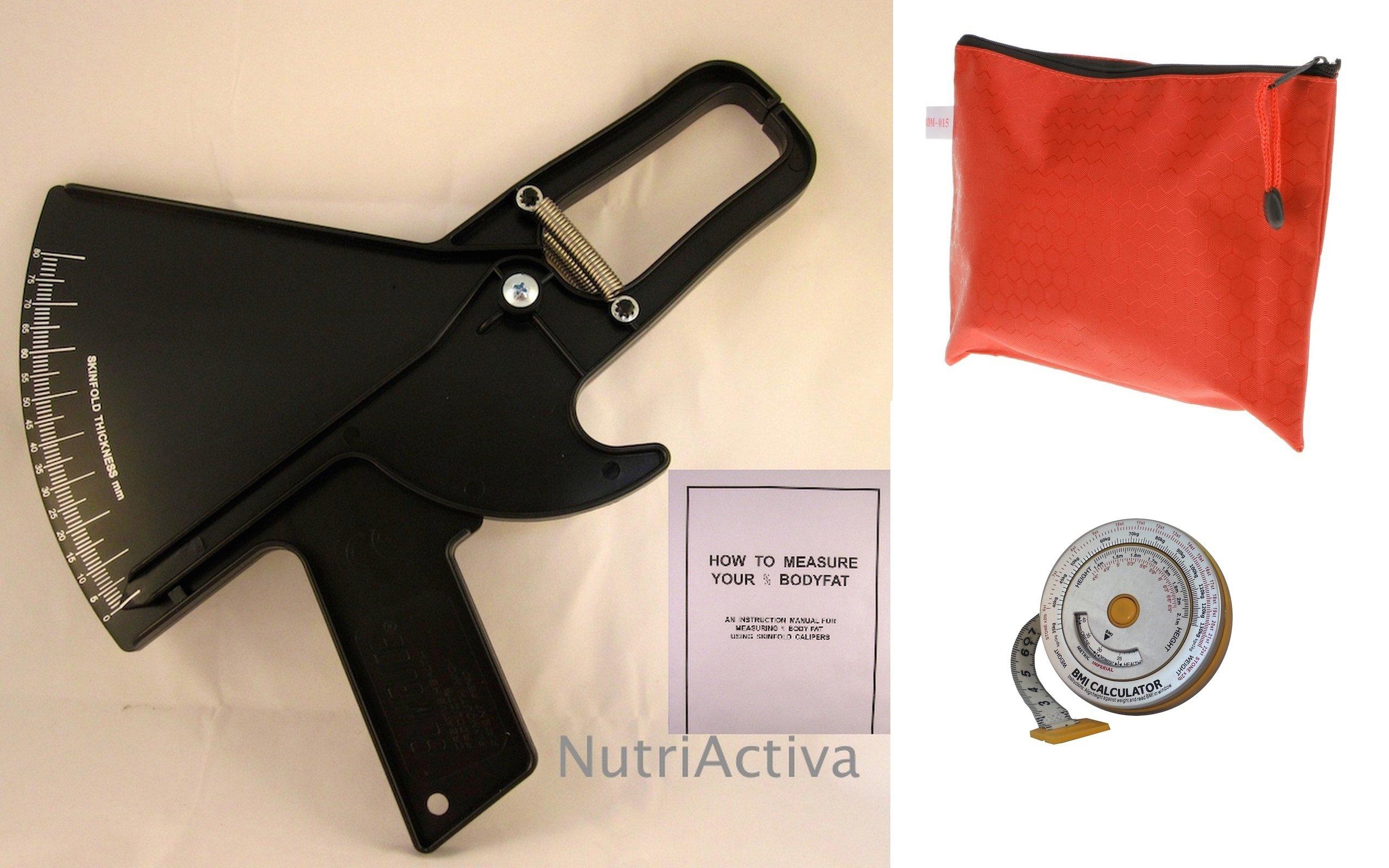 Slim Guide Skinfold Caliper Kit w/ Case, BMI Tape Measure, Transport Bag (Black)