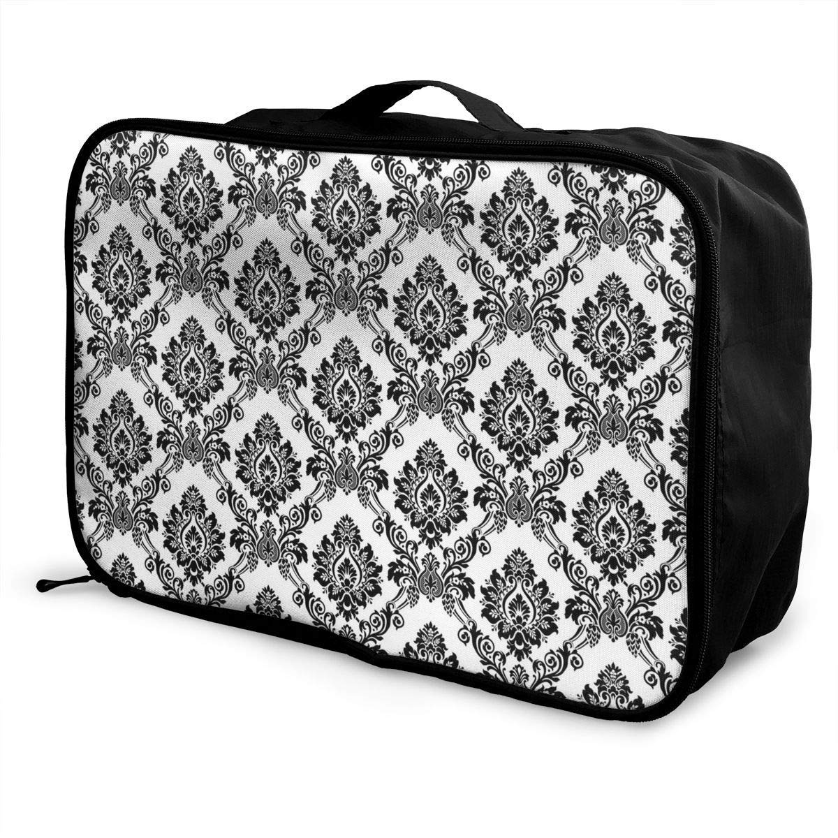 Damask Antique Classical Damask Flowers Pattern Traditional Artwork Travel Lightweight Waterproof Foldable Storage Carry Luggage Duffle Tote Bag JTRVW Luggage Bags for Travel