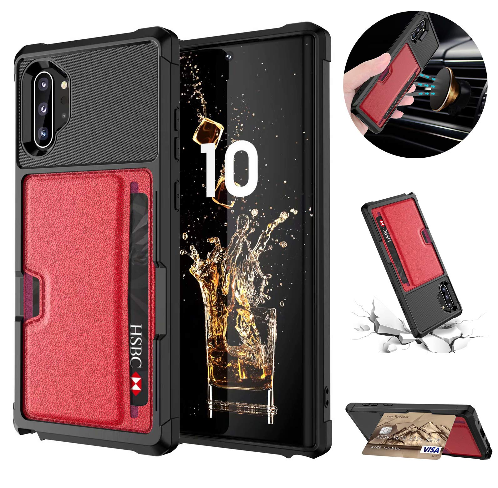 Tznzxm Galaxy Note 10 Plus/Note 10 Plus Case,Slim Non Slip Credit Card Kickstand Rubber [Work with Magnetic Car Mount] Durable Flip Shockproof Protective Cover for Samsung Galaxy Note 10 Plus Red by Tznzxm