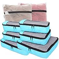 8 Sets Packing Cubes Travel Luggage Organizer w/Mesh Laundry Bag (Azure Blue)