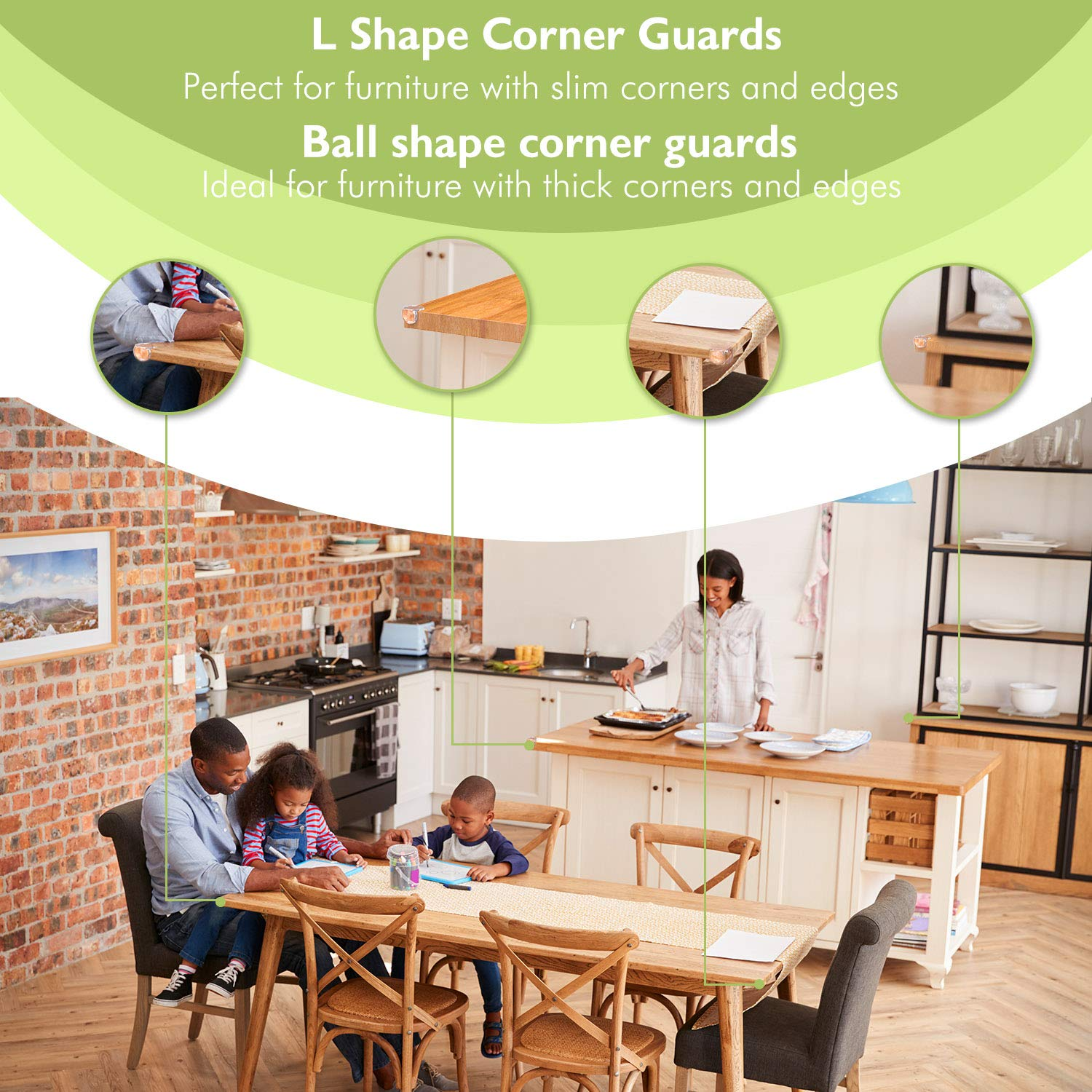 Cabinets and Sharp Edges 12pcs L Shaped /& 12pcs Ball Shaped Included 24 Packs Safety and Corner Guards Set CG-01-NEW Dr.meter Baby Proofing Edge Guards with 3M Adhesive for Furniture