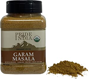 Pride Of India - Organic Garam Masala Ground - 8 oz (227 gm) Large Dual Sifter Jar - Certified Pure & Vegan Indian Blend Spice - Perfect Seasoning for Culinary Use - Offers Amazing Value for Money