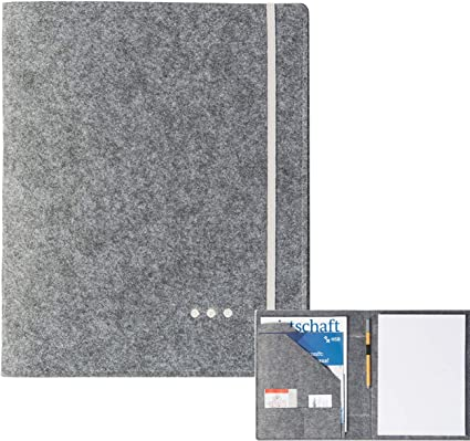 Schreibmappe A4 aus Filz Visitenkarten Stifthalter luxdag   Konferenz-Mappe f/ü r Block Dokumente grau, Farbe w/ä hlbar Bl/ä tter