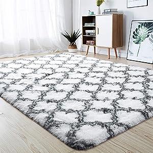 junovo Soft Area Rugs Fluffy Modern Geometric Rugs for Bedroom Living Room, Shaggy Floor Carpets Large Indoor Mat for Girls Kids Teen's Room Nursery Home Decor, 4ft x 5.9ft, White