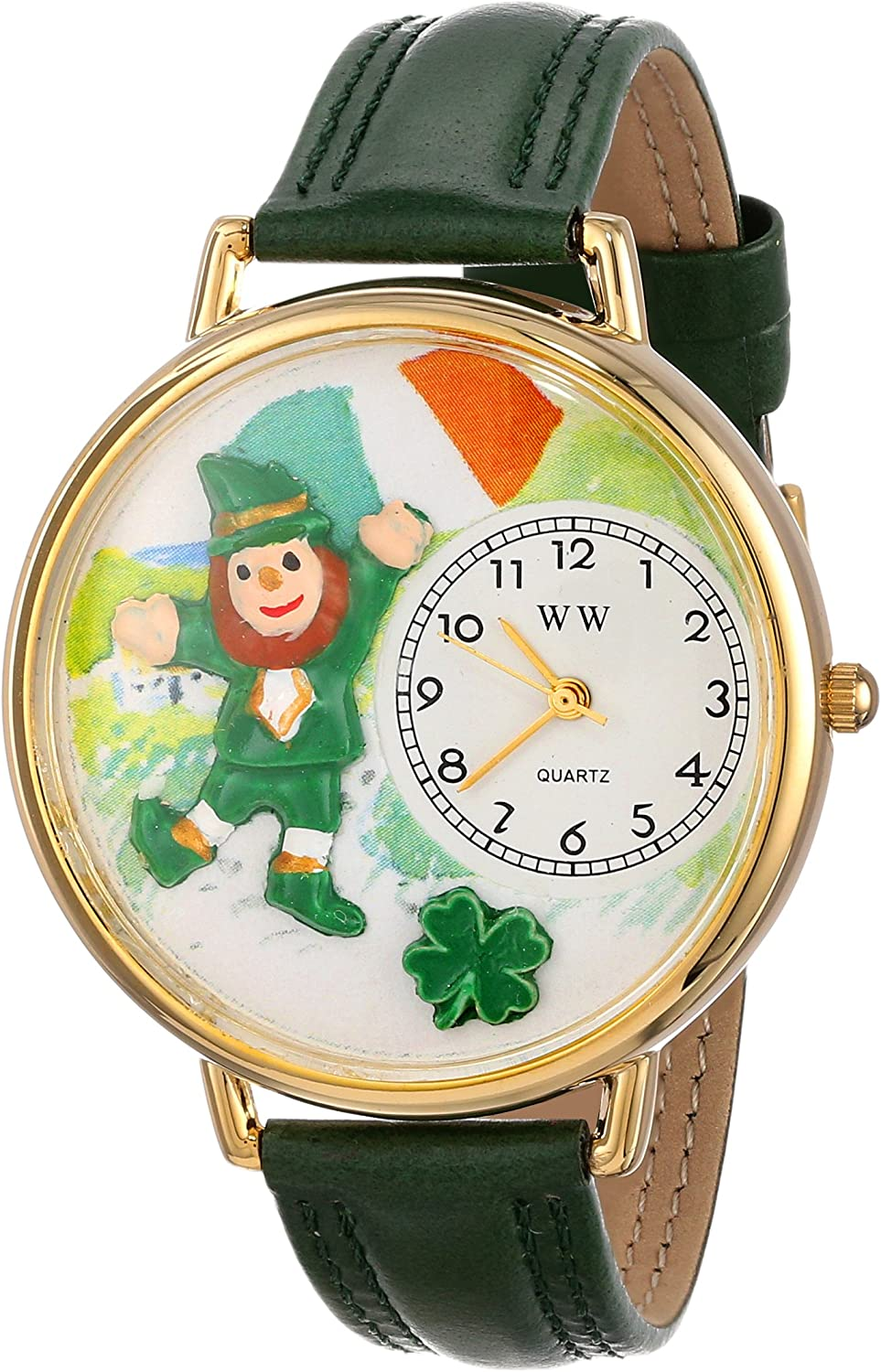 Whimsical Watches Unisex G1224001 St. Patrick s Day Irish Flag Green Leather Watch
