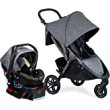 Britax B-Free Travel System with B-Safe Ultra Infant Car Seat - Birth to 65 Pounds | All Terrain Tires + Adjustable Handlebar