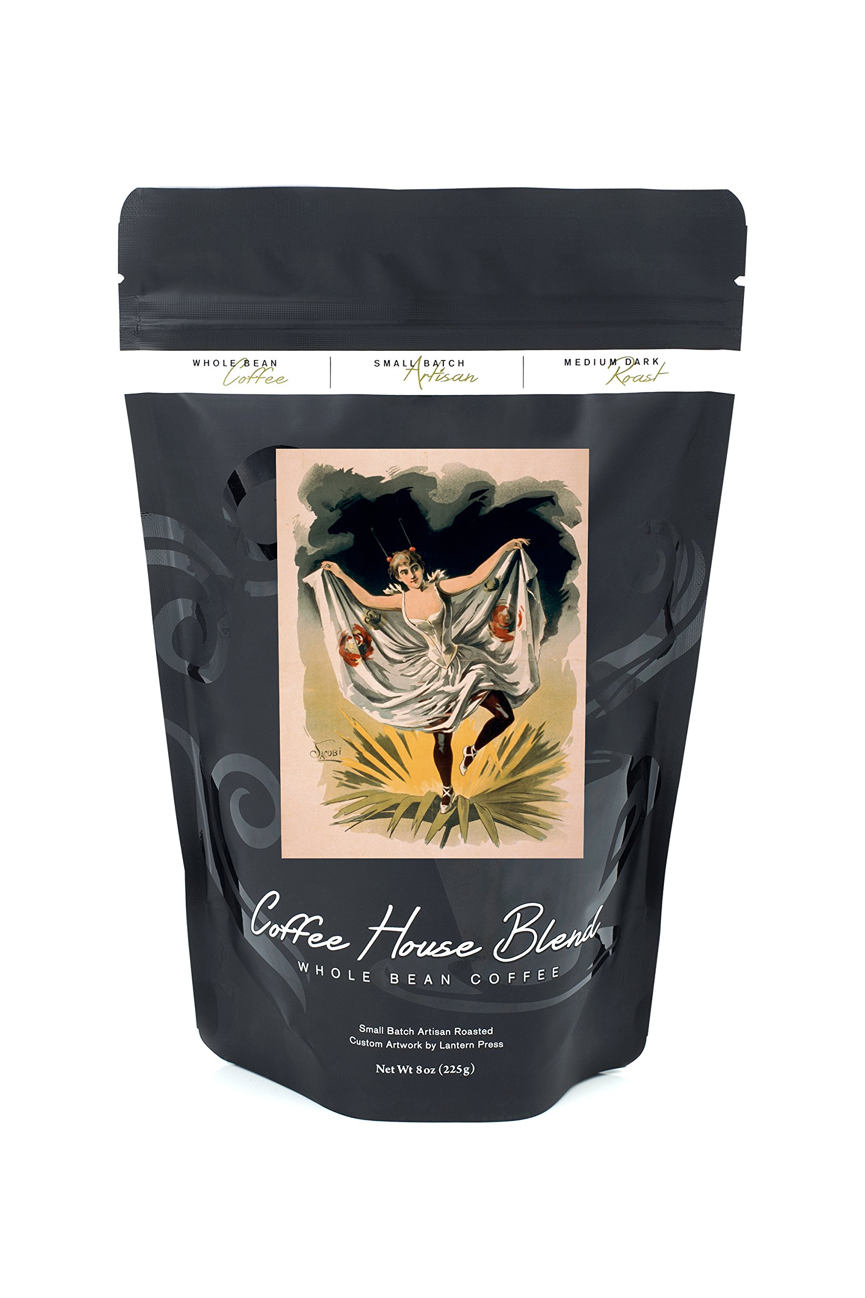 Woman in Dance Costume on Flower Poster (8oz Whole Bean Small Batch Artisan Coffee - Bold & Strong Medium Dark Roast w/ Artwork)