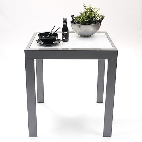 Homely - Mesa Cocina Extensible Delhi. Metal Gris y Cristal Blanco. Medidas  70x70 Cerrada. 140x70 Abierta