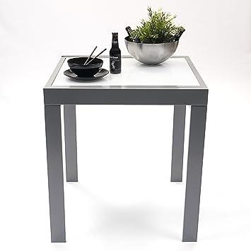 Homely Mesa Cocina Extensible DELHI. Metal gris y cristal blanco ...