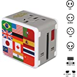 Rocclo Universal All in One Worldwide Travel Power Plug Wall Ac Adapter Adaptor Charger with Dual USB Charging Ports National Flag Edition For USA Eu Uk AUS