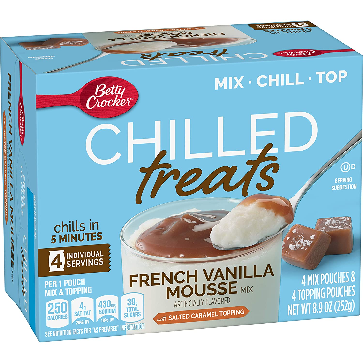 Betty Crocker Chilled Treats, French Vanilla Mousse Mix with Salted Caramel Topping, 8.9 oz