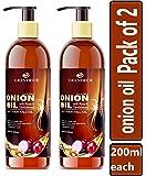 Grandeur (pack of 2,) 200ml x 2 Onion Hair Oil For Hair Fall Treatment And Hair Growth With Red Onion Extract, Argan Oil, Bhringraj, Hibiscus Oil, Jojoba Oil, Vitamin E 200ml x 2= 400ml