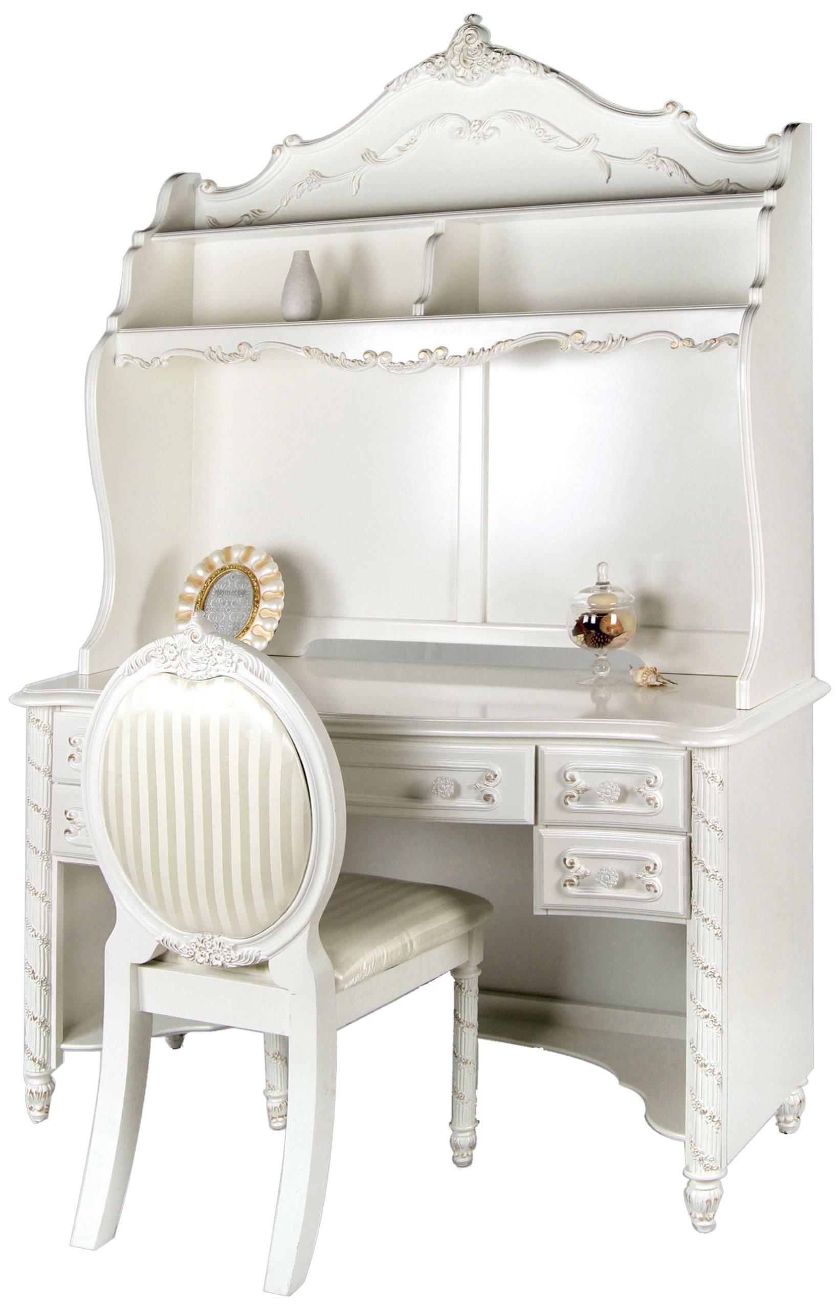 Furniture of America Nathalia Fairy Tale Style 3-Piece Desk Set, Pearl White Finish