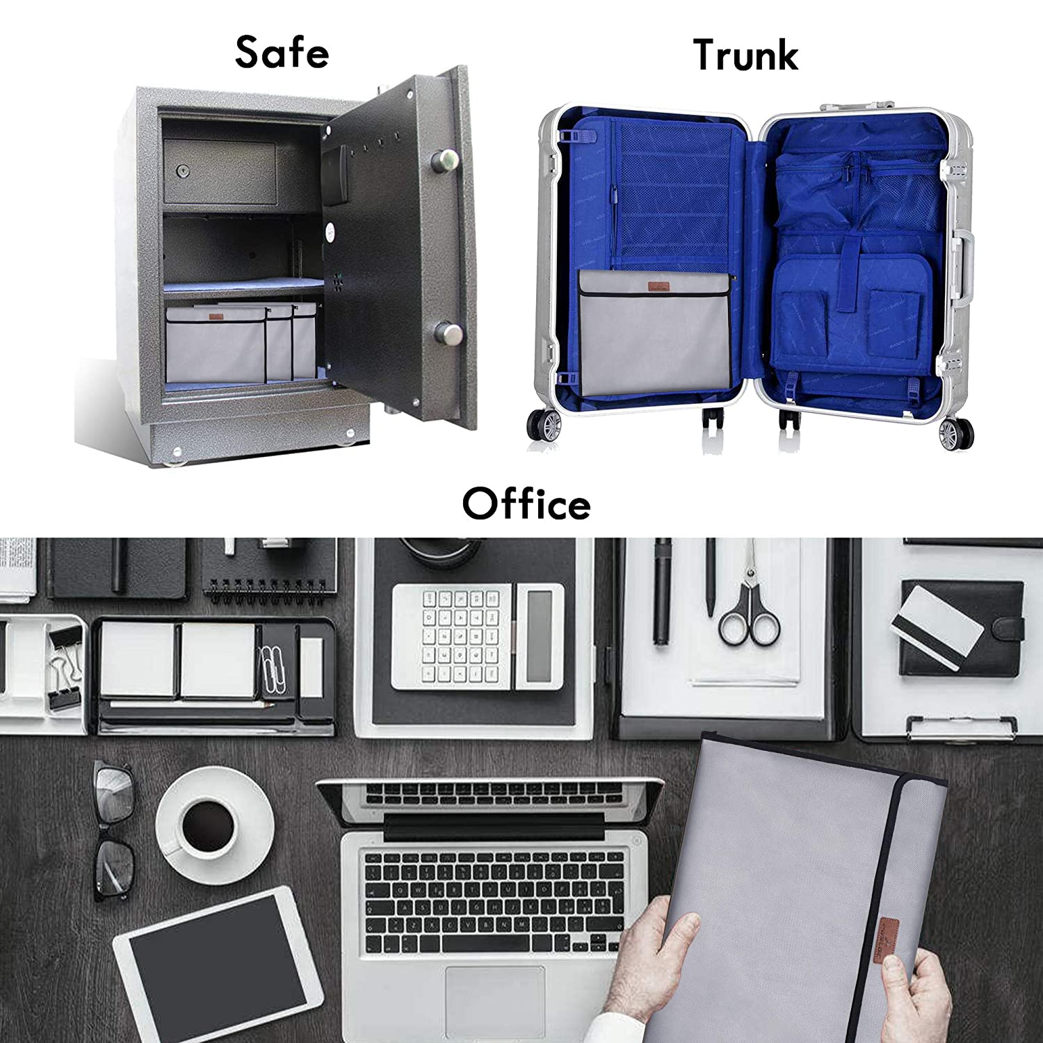 Documents 15.6 * 11.6inch Jewelry and Passport Posloc Fireproof Document Bag Non-Itchy Silicone Coated Fire Resistant Money Bag Fireproof Safe Storage for Money Bag in bag design