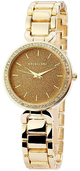 Colores reloj oro analógico para mujer Strass metal Reloj de pulsera: Amazon.es: Relojes