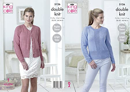 33ad96316 Image Unavailable. Image not available for. Colour  King Cole 5126 Knitting  Pattern Womens Raglan Cardigan and Sweater Cottonsoft DK