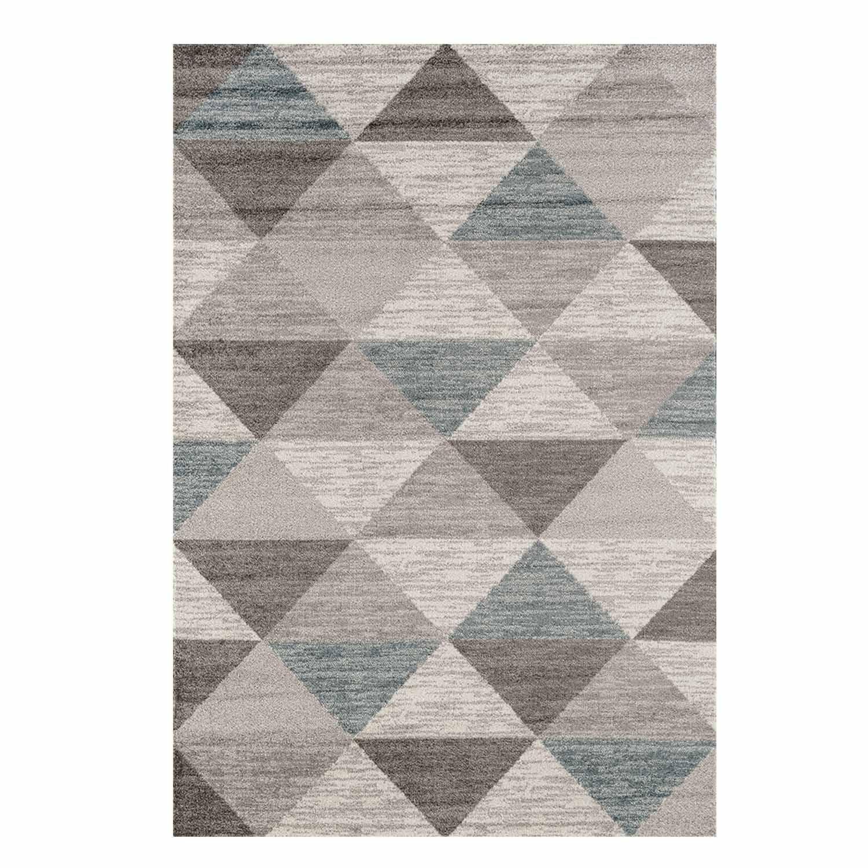 Teppich Flachflor Modernes Mosaik-Muster in Creme, Grau für Wohnzimmer Größe 200 290 cm