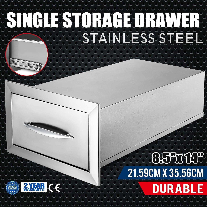 BestEquip 8.5x14 Outdoor Kitchen Drawer Stainless Steel Single Access Drawer BBQ Island Drawer Organizer with Chrome Handle Access Drawer Storage Flush Mount Sliver