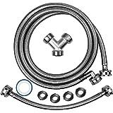 Premium Steam Dryer Installation Kit,Steam Dryer Hose Kit Stainless Steel Hoses,Burst Proof 6ft Long with 90 Degree Elbow,1 f