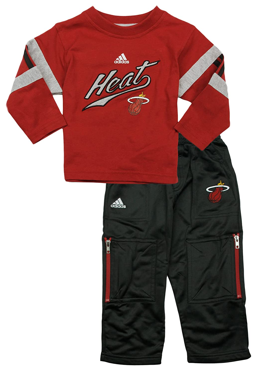 Miami Heat NBA Little Boys 2-Piece Long Sleeve Shirt and Pant Set Adidas