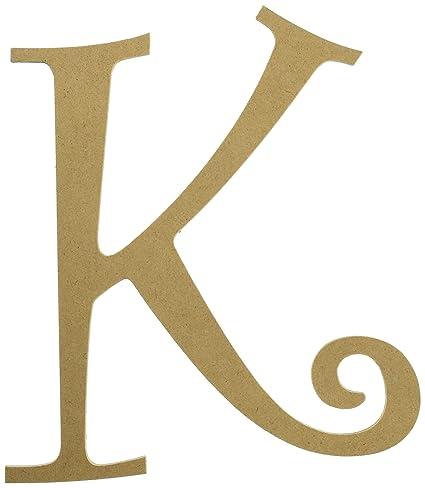 darice u9190 906k mdf fancy script letter k 8