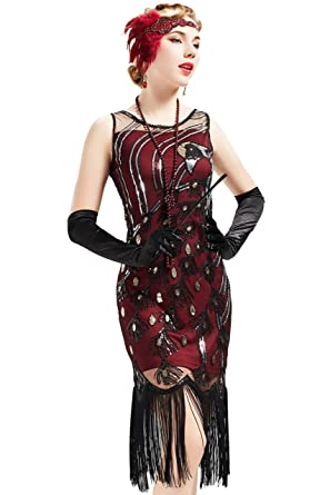 8b4c4be1c83a ArtiDeco Women s 1920s Fringed Gatsby Dress Peacock Pattern Theme Flapper  Dress for Gatsby Costume Party Prom