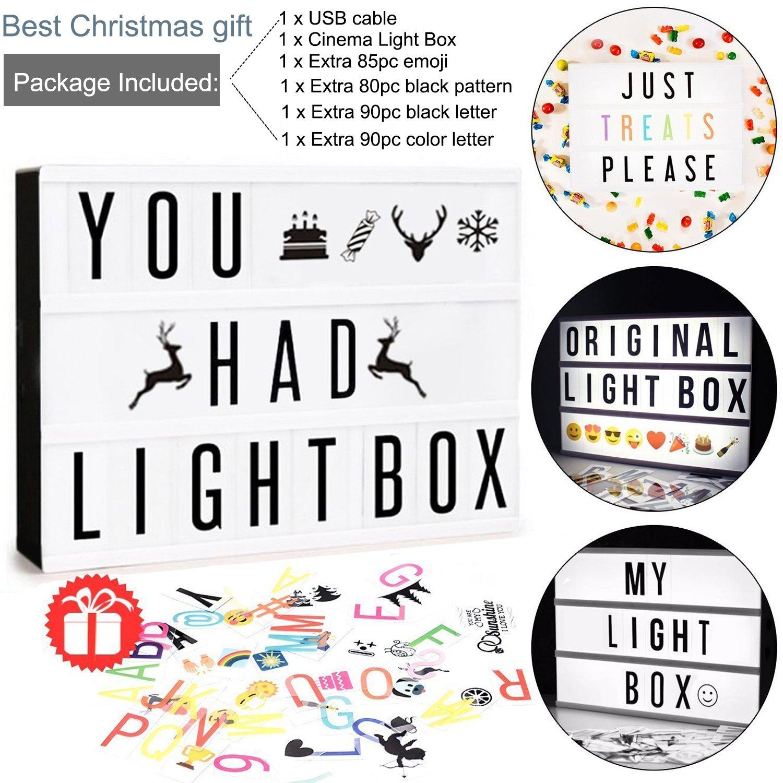 Amazon decorative signs home kitchen mini led cinema light box doingart cinematic light box include 345 changeable letters with buycottarizona Choice Image