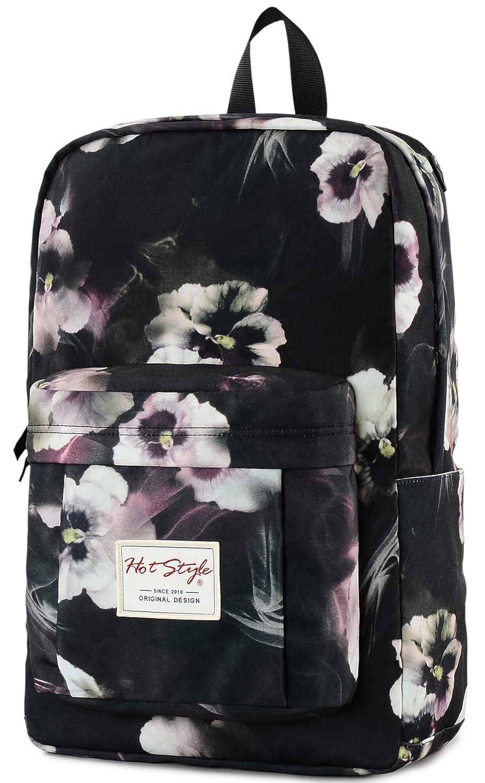 Wasserdichter Daypack f/ür Laptop 15 Zoll HotStyle Damen Rucksack Blumen 24L Schwarz