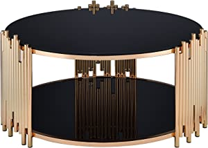 ACME Tanquin Coffee Table - - Gold & Black Glass