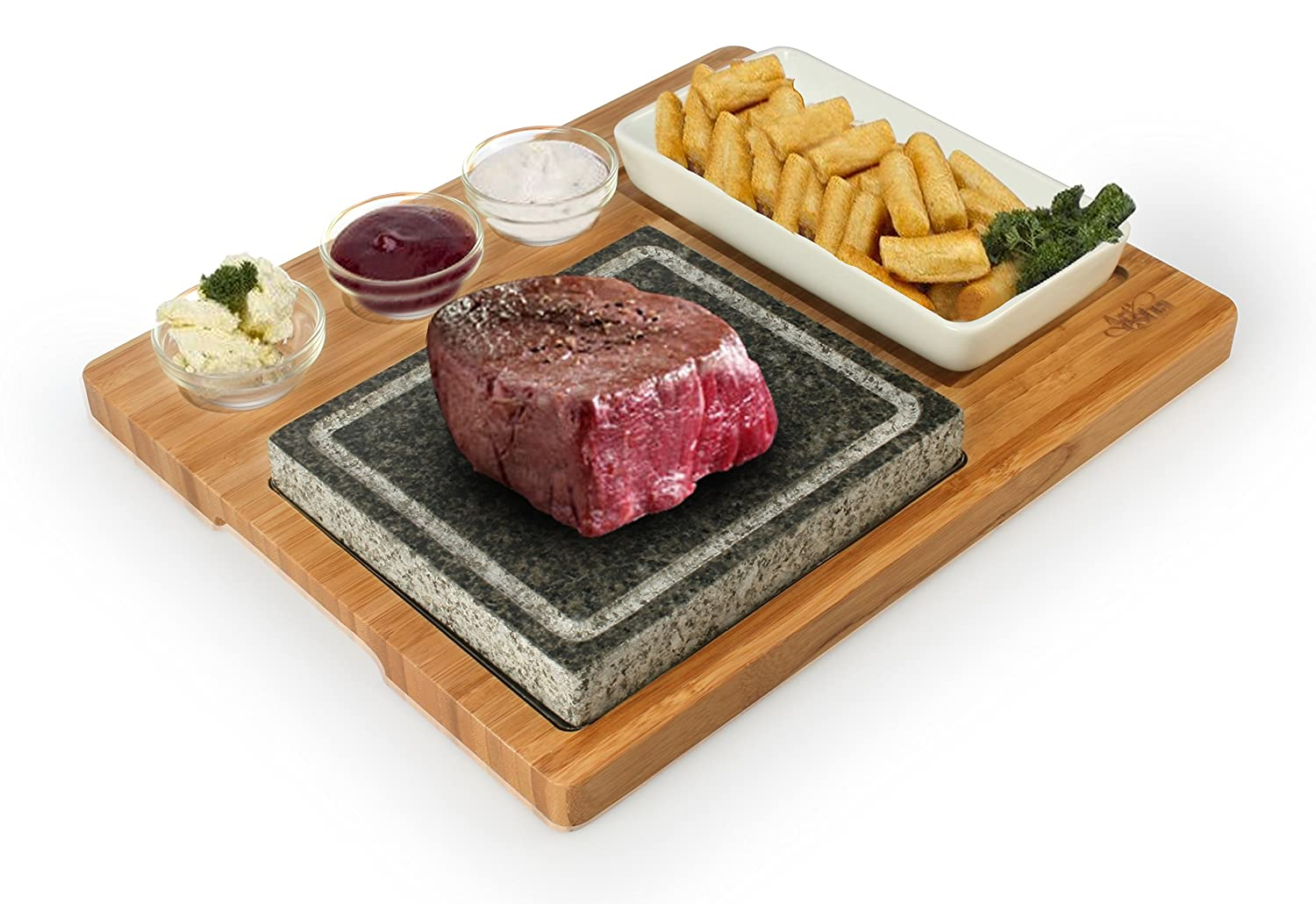 ... Bamboo Platter And Ceramic Side Dishes, Deluxe Tabletop Barbecue / BBQ  / Hibachi / Steak Grill (Deluxe Stone Set) : Patio, Lawn U0026 Garden