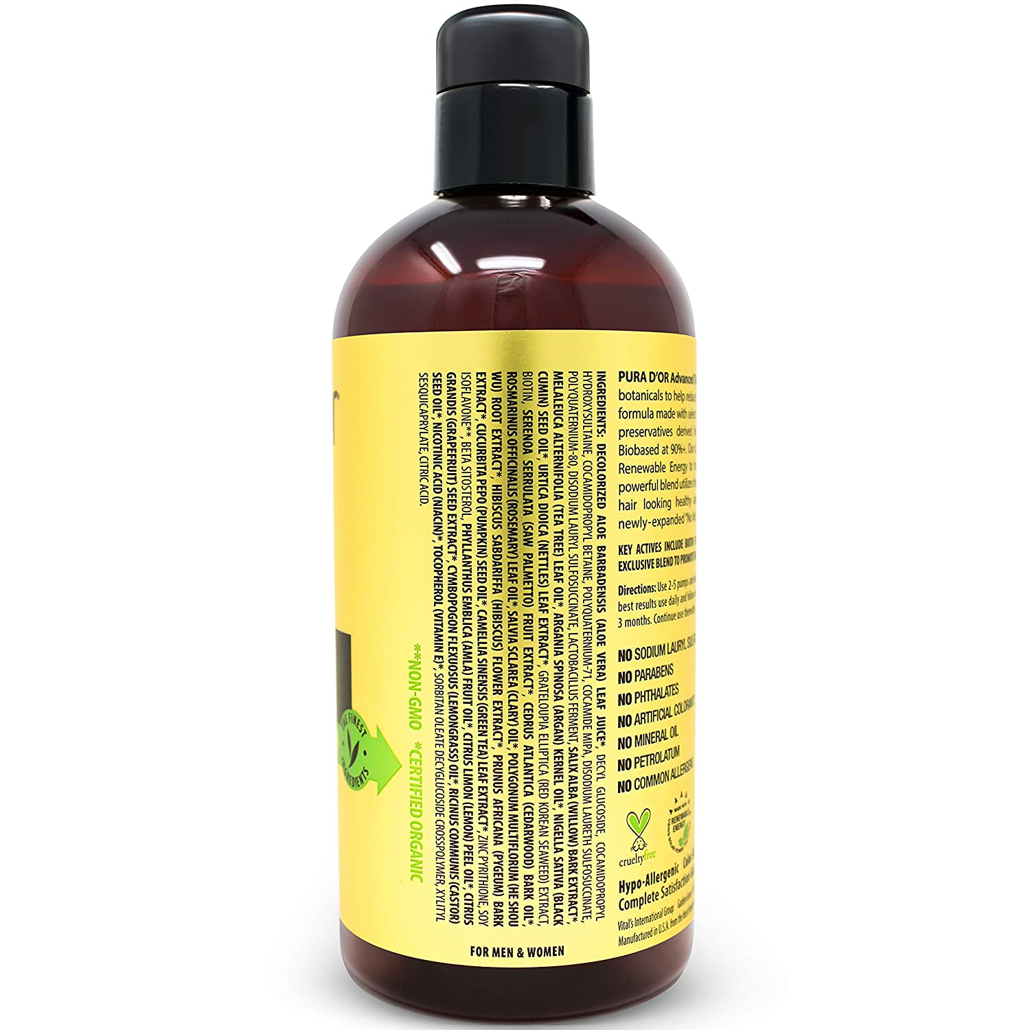 PURA D OR Advanced Therapy Shampoo Reduces Hair Thinning Increases Volume, Sulfate Free, Biotin Shampoo Infused with Argan Oil, Aloe Vera for All Hair Types, Men Women,16 Fl Oz